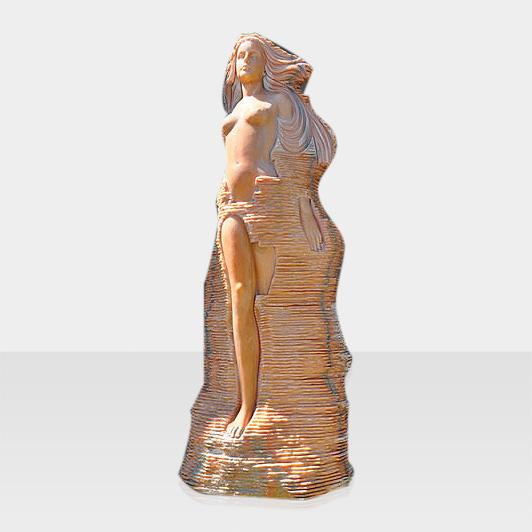 Natursteinbrunnen Frau in Mauer