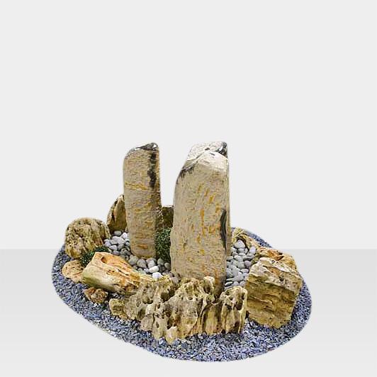 Brunnen aus Naturstein Modell Brunnen Quellstein Stelen-Arrangement