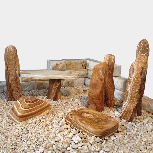 Dekosteine & Zierkies Modell Braunes Gartensteinensemble mit weißer Maserung