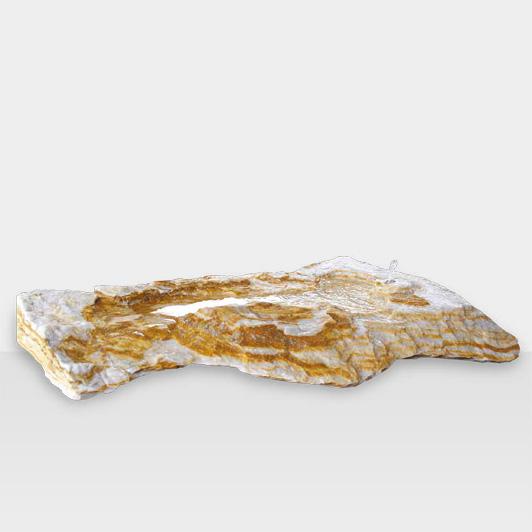 Dekosteine & Zierkies Modell Flacher, weißer Gartenstein mit gelber Maserung