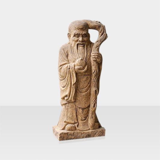 Steinfigur Konfuzus mit Stab